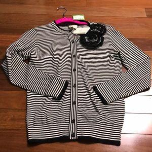 NWT Kate Spade XS rosette stripe Cardigan
